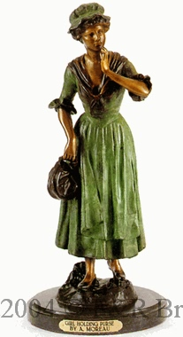 Girl Holding Purse bronze by Auguste Moreau
