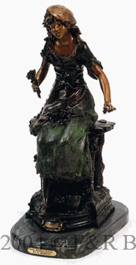 Red Riding Hood Bronze statue by Auguste Moreau