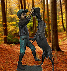 Boy with dog Bronze