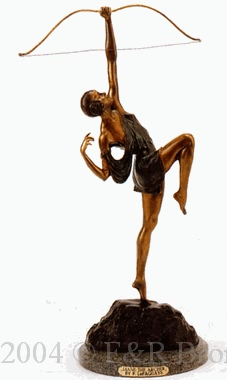 Diane the Archer bronze sculpture by Pierre LeFaguays