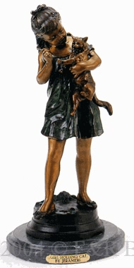 Girl Holding Cat bronze statue by Jeranier