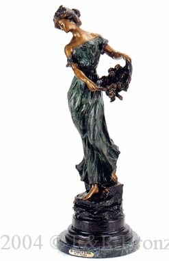 Girl with Basket of Flowers bronze by Flora