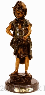 Harvest Time Girl bronze statue by J. Morie