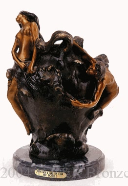 Nude Boy & Girl on Vase bronze statue by Bofill