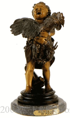 Rooster Girl bronze by Fuenze