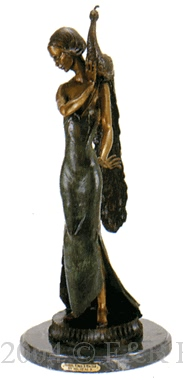 Standing Girl with Peacock bronze sculpture