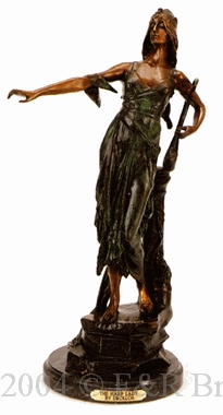 The Harp Lady bronze statue by Drollos