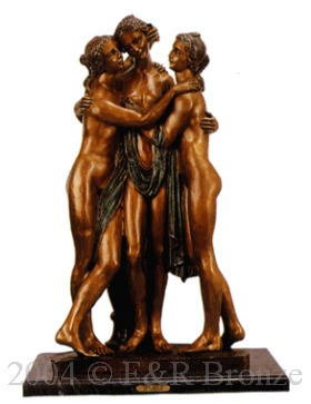 Three Graces bronze statue by Torrione