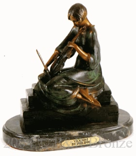 Violinist bronze statue by Philippe