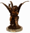 Seated Cupid with Bird bronze by Houdon