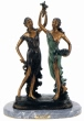 Sisters with Flowers bronze by Paul Dubois