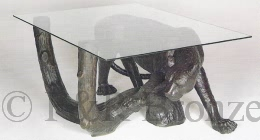 bronze Cheetah Table with glass by Mene
