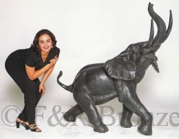 Monumental Elephant bronze statue by Barye