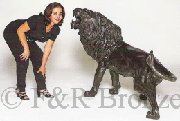 Monumental Savage Lion bronze by Barye