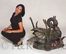 Bronze Swan Table with Glass by Castano