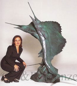 Sword Fish bronze fountain by Castano