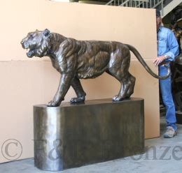 Tiger on Base bronze statue