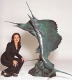 Monumental Swordfish bronze fountain by Castano