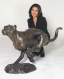 Running Cheetah bronze statue
