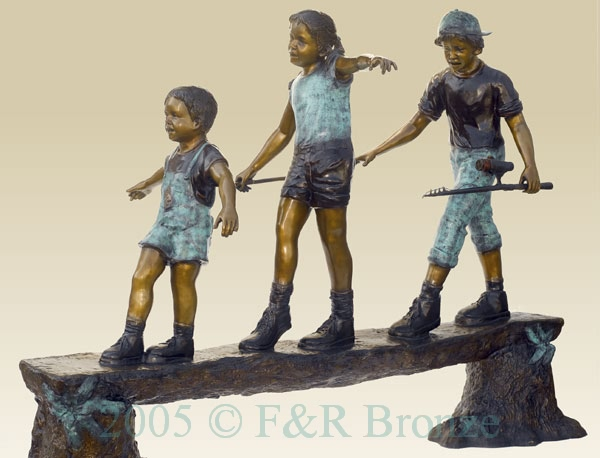 Three Standing Kids on the Log bronze-1