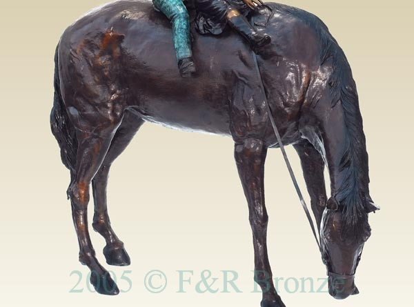 Boy and Girl on Horse bronze statue