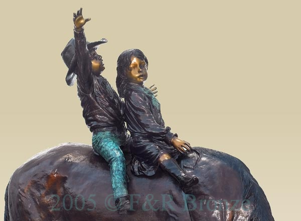 Boy and Girl on Horse bronze