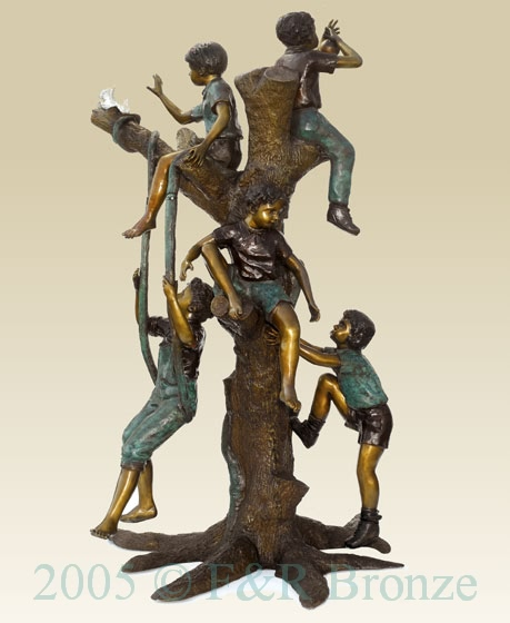 Five Boys Playing In Tree bronze sculpture-2