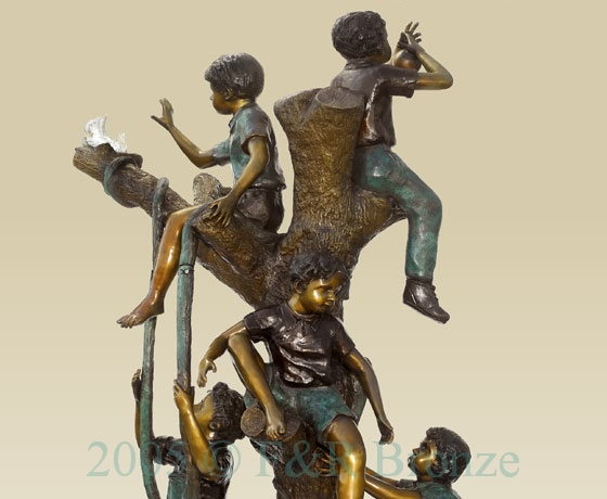 Five Boys Playing In Tree bronze sculpture-3