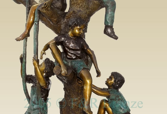 Five Boys Playing In Tree bronze sculpture-4