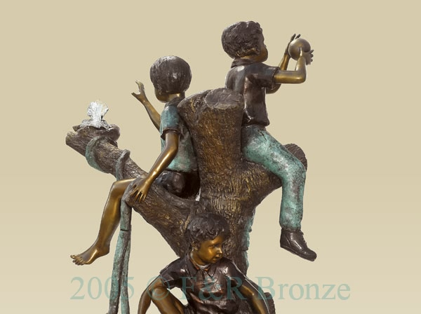 Five Boys Playing In Tree bronze sculpture-1