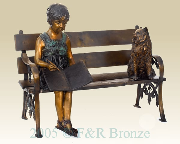 Girl with Cat on Bench bronze