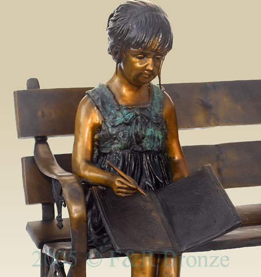 Girl with Cat on Bench bronze sculpture