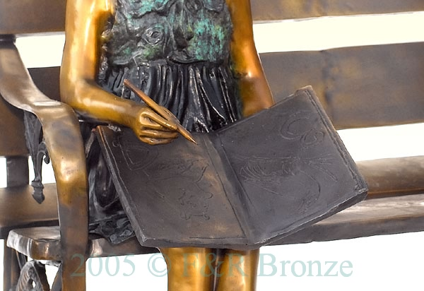 Girl with Cat on Bench bronze reproduction