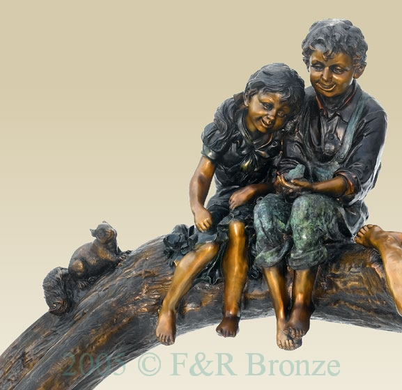 Three Kids On Log with Squirrel bronze-1