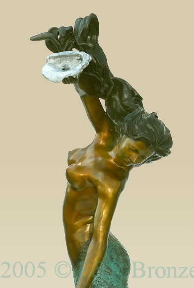 Mermaid with Shell bronze statue fountain