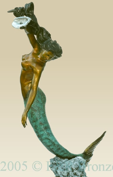 Mermaid with Shell bronze sculpture fountain
