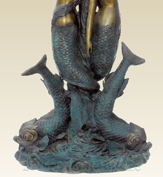 Two Mermaids with Fish bronze sculpture fountain