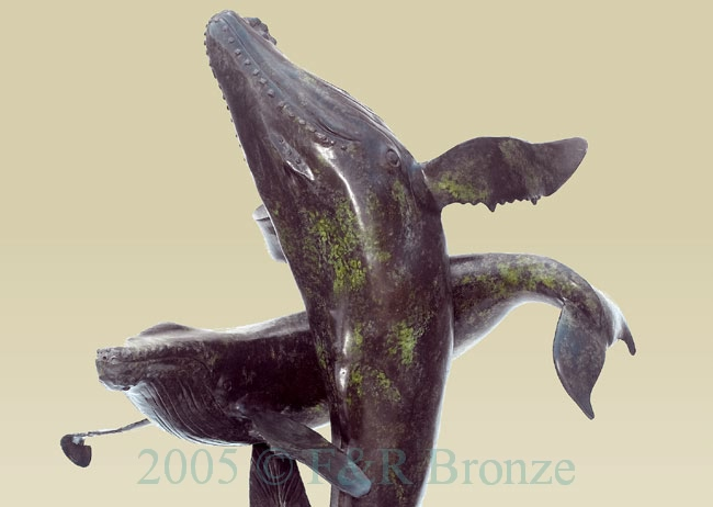 Two Whales bronze statue fountain