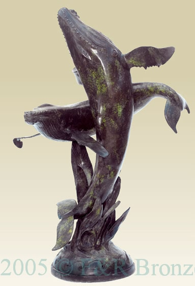Two Whales bronze sculpture fountain