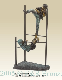 Kids on Monkey Bars bronze statue