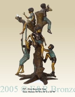 Children Playing In Tree Bronze