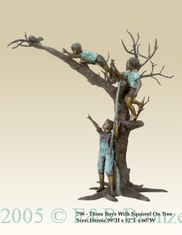 Three Boys with Squirrel on Tree bronze sculpture