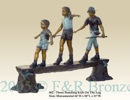 Kids Playing On Log bronze by Turner