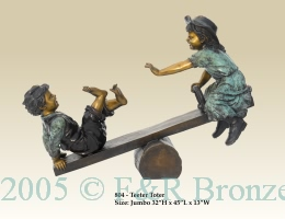 Children on Teeter Totter bronze statue