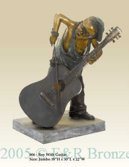 Boy with Cello bronze statue