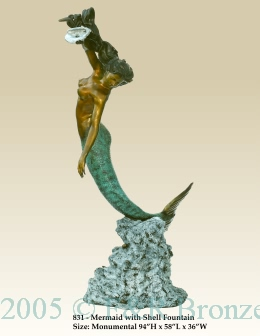 Mermaid With Shell bronze fountain
