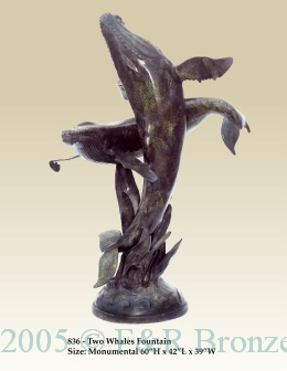 Two Whales Fountain bronze statue