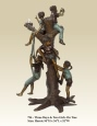 Three Boys and Two Girls on Tree bronze sculpture