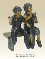 Boy and Girl with Teddy Bear bronze statue