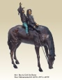 Boy and Girl on Horse bronze sculpture